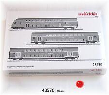 """Märklin 43570 Doppelstockwagen-Set """"Regio-DB"""" 3-teilig mit Innenbeleuchtung #NEU"""