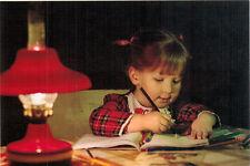 Little girl writes letter to Grandma Modern Russian postcard
