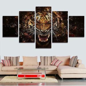 Angry Tiger Animal Shattered Glass 5 Panel Canvas Print Wall Art Painting Decor