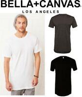 MENS Canvas Long Body T-Shirt Scoop Hemline Longline Length - SIZES S-XXL
