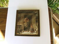 Antique Victorian Framed Print with Cottage Scene, Grandpa, Grandkids, Rabbits!!