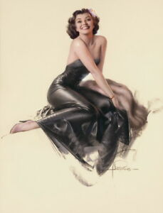 Rolf Armstrong Pin Up in Black Giclee Paper Print Poster Reproduction