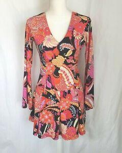Vintage 60s Mod Gogo Purple Pink Floral Fit & Flare Dress S/M