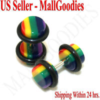 0553 Fake Faux Cheaters Illusion Ear Plugs 2G Rainbow 16G Gague Rasta