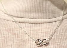 """925 Silver Double-Stranded Infinity Pendant & Chain Necklace 18"""""""