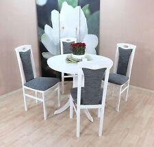 Essgruppe 5-tlg. Auszugtisch Esstisch Tisch rund Stühle Farbe: Weiß/Graphit