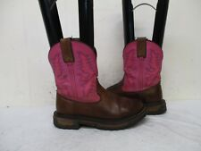 ROCKY Brown Pink Leather Cowboy Boots Womens Size 6 M/W Style 4304