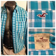 Men's HOLLISTER L/S Plaid Checks Button Front Shirt Sz XL Pocket Logo EUC NICE!!