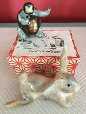 Vintage Salt Pepper Shaker Set Turtle Hare Rabbit Race Japan w Box EXCELLENT