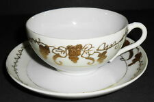 RAISED GOLD EGG SHELL THIN HAND PAINTED NIPPON CUP & SAUCER 1900 - 1940