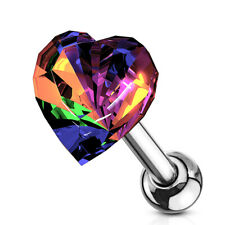 """1 PC 16g 1/4"""" CZ 6MM Heart Tragus Cartilage Barbell  Stud Earring #A"""