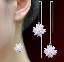 Ladies Fashion Jewelry 925 Sterling Silver Crystal Ice Flowers Threader Earrings