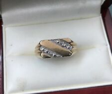 Men's/Women's 9ct Gold Vintage Ring Small Diamonds W 4g Stamped Ring Size V