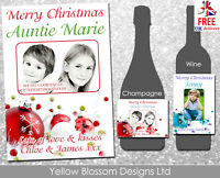 Personalised Christmas Wine Champagne Bottle Label With Photo Teacher Mum Sister