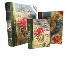 Punch Studio Nesting Book Boxes-Set of 3 Large Vintage Christmas-With Gold Leaf!