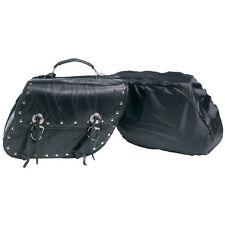 Genuine Buffalo Black Leather Motorcycle Luggage Set Universal Fit Saddlebags