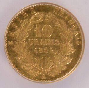 ANACS France 1862-A 10 Gold Francs VF35