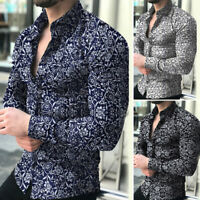 Mens Printed Casual Long Sleeve Slim Fit T-Shirt Tops Dress Shirts Work Blouse