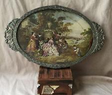 Antique Vtg Silver Overlay Oval Frame Tray Made In Japan Meiji Nouveau Florals