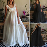 Womens Party Sundress Fit Swing Dresses Casual Loose Dress O Neck Ladies Plus