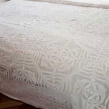 Indian Cutwork Bedspread Queen Applique Bed Cover Organza Cotton White Bedding
