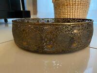 Tablett Dekotablett Eisen Kerzen Shabby Landhaus Antik Gold