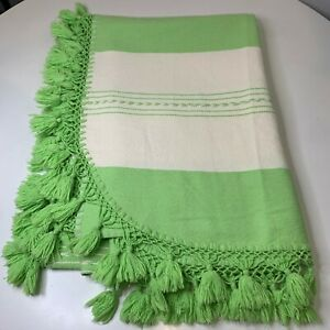 Blanket throw sofa outdoors cream and green striped boho chic rounded bottom
