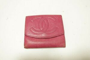 Authentic CHANEL Caviar Skin Leather Wallet  #10003