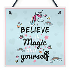 Believe In Magic and Yourself Unicorn Wall Plaque Sign Gifts for Girls