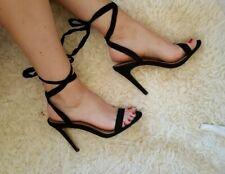 ASOS skinny ankle strap black suede heels  sandals heels UK 5