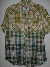 Western Shirt Winchester MED Mens Plaid Distressed Plaid Green S/S Cotton 6W15