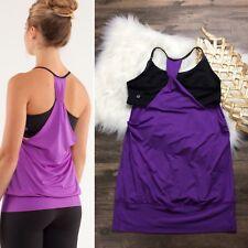 Lululemon No Limits Tank Top Women's Size 10 Purple Black Double Dutch