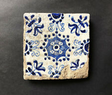 Very Rare 17th C DELFT TILE, possibly London / Pickleherring Pothouse, 1618 - 50