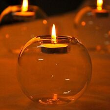 Crystal Glass Round Candlestick Clear Candle Holder Terrarium Party Home Decor