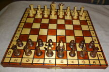 Folding Wooden Chess Set Game Wood Board Hand Made Carved Crafted Pieces - Nice!