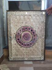 "Antique 32x24"" Pop Mirror Tribal Folk Art Hand Made Wall Decorative Rare Frame"