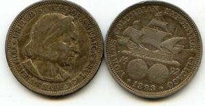 1893 Silver Columbus Exposition COMMEM. Half Dollar 50c  90% Silver UNCLEANED