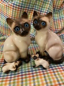 VINTAGE ENESCO SIAMESE CAT SET PORCELAIN FIGURINES SET OF 4