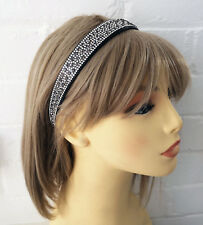 Stunning 2cm wide grey diamante plastic headband - aliceband - Prom - bridal