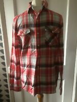 LEVI'S SIZE S/40 STANDARD FIT  2 POCKETS RED/GREY/WHITE CHECK  LONG SLEEVE SHIRT