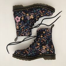 Dr Doc Martens 9 US UK 7 Ankle Boots Black Floral Lace Up Wanderlust 8 Eyelets