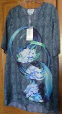 NWT RACHELALEX Rachel Alex Dress 100% Silk Short Sleeve Shift Blue Print 8 $590