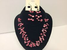 Ethel & Myrtle Pink Glass Bead Necklace Dangle Earring Jewelry Set