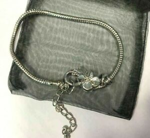 Silver Rope Snake Chain Bracelet with Flower Detail Clasp