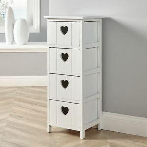 White Wooden 4 Drawer Chest Storage Unit Bedroom Organiser Bedside B Seconds