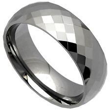 TUNGSTEN CARBIDE Highly Polished Diamond FACETED 8mm Band Ring, size 9