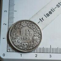 I08404 1 franc suisse 1920 pièce de monnaie argent silver coin