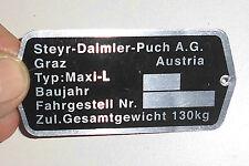 Original Steyr-Daimler-Puch A.G.-Graz Typenschild Maxi-L Rahmen Fahrwerk Mofa