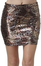 Metallic Foil Printed Thigh Length Mini Skirt Casual Easy Wear Poly Span S M L