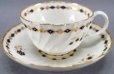 Set of 4 Flight Worcester Cobalt & Gilt Floral & Diamond Tea Cups & Saucers